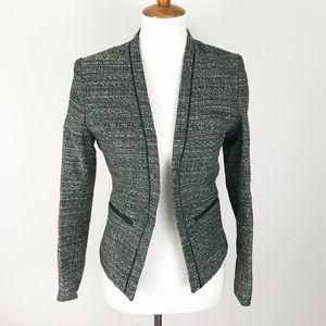 H&M Blazer Size 8 Black Tweed Open Front Career